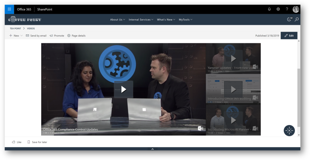 Office 365 Video Integration (Valo Modern, Valo Intranet, SharePoint Intranet, Office 365)