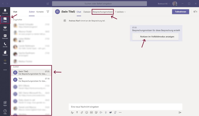 Microsoft Teams auf Besprechungsnoitzen zugreifen Valo Intranet Digital Workplace Intranet Lösung