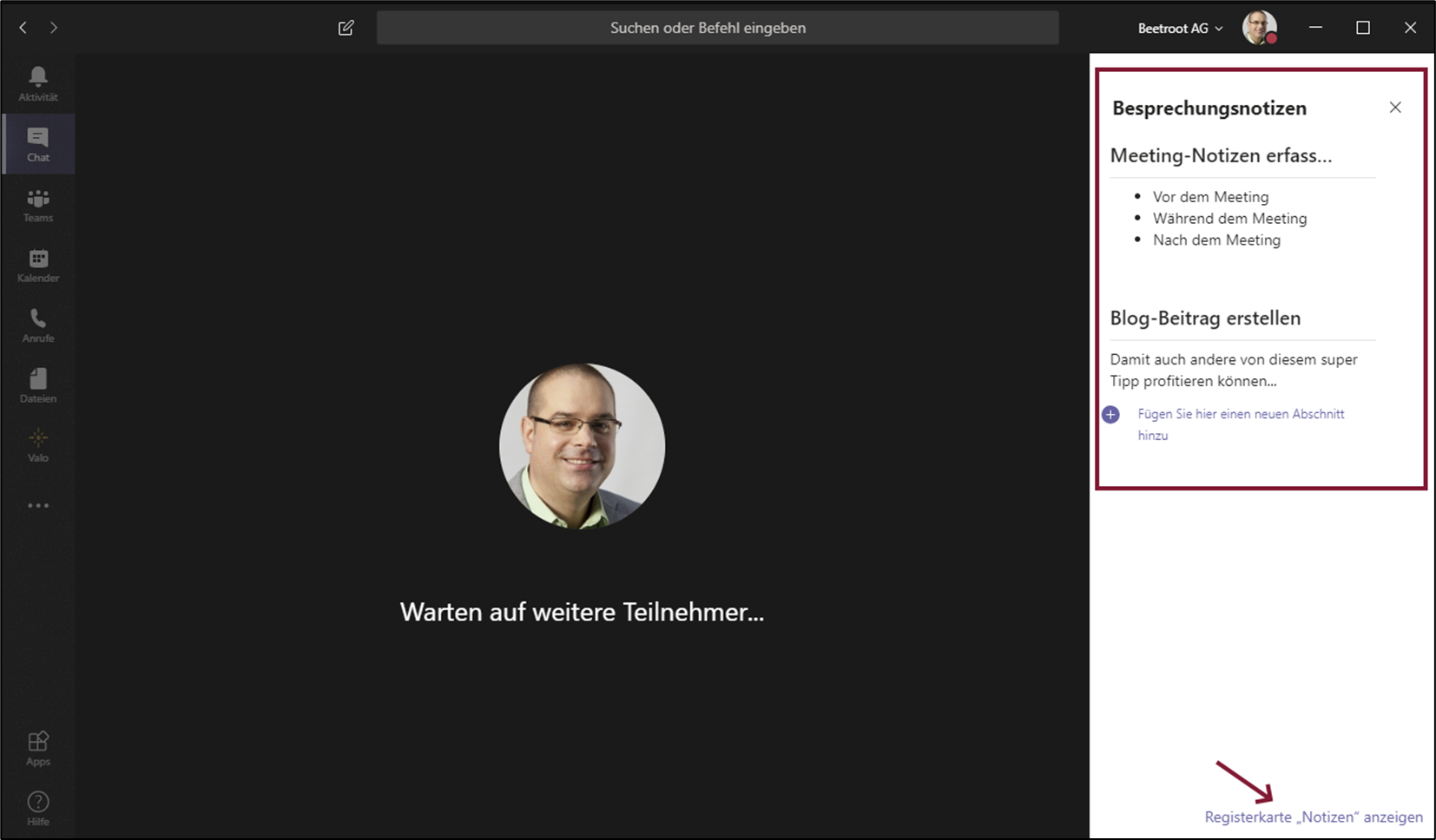 Microsoft Teams Besprechungsnotizen während Meeting Valo Intranet Digital Workplace Intranet Lösung