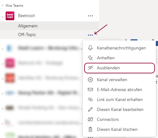 Microsoft Teams Kanäle ausblenden (hide) - Intranet Lösung - Valo Intranet - Digital Workplace